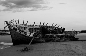 Lost at Sea wrecked ship on beach